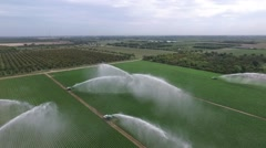 Aerial video of 7 Water cannons from the air Stock Footage