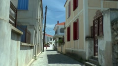 Street of of Greek town on a hot afternoon, siesta. Stock Footage
