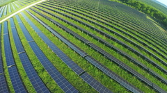 AERIAL, flight above solar panel electricity station Stock Footage