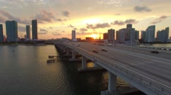 Drone Aerial Hover Next to Miami Bridge Sunset 4K Stock Footage