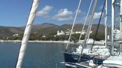 View of a Greek seaside town. Stock Footage