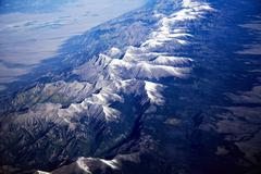 Aerial view over mountains - stock photo