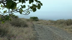 Country road on the slope of the volcanic Greek island. Stock Footage
