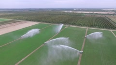 Aerial video of 8 Water cannons from the air Stock Footage