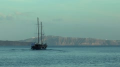 Pleasure craft stylized old ship. - stock footage