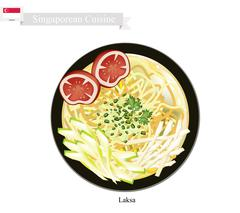 Laksa or Singaporean Rice Noodle in Spicy Soup - stock illustration