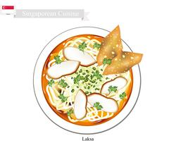 Laksa or Singaporean Noodle Soup with Dumpling and Meat Ball - stock illustration