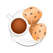 Coffee with Muffin Cakes on White Background Stock Illustration
