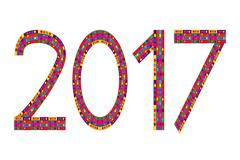 Multi colored numbers of year 2017 on white background - stock illustration