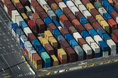 Aerial view of multi colored stacked cargo containers, Port Melbourne, Stock Photos