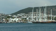 View of Bodrum and ships moored at the berth. Stock Footage