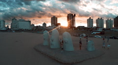 Tourists visiting Brava Beach in Punta del Este, Uruguay Stock Footage