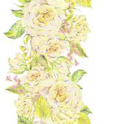 Floral hand drawn seamless border with bouquet of white roses Stock Illustration
