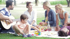 Family enjoying weekend picnic Stock Footage
