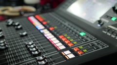 Close up of someone using a sound board (HD) Stock Footage
