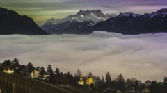 Swiss Alps and clouds on lake Geneva - time lapse Stock Footage