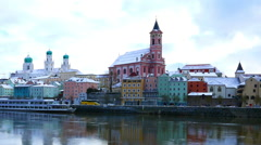 The riverside of Passau in Winte Stock Footage