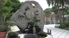 4k Fountain near Haiin temple in Kinmen, Taiwan Stock Footage