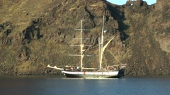 Pleasure craft stylized vintage sailboat . Stock Footage