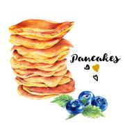 Hand drawn set of homemade delicious pancakes - stock illustration