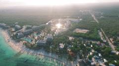 4K Aerial drone shot mexico akumal hotels Stock Footage