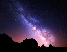 Night landscape with Milky Way. Starry sky, Universe Stock Photos