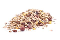 nuts mix oat cereals - stock photo