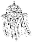 Dreamcatcher, feathers and beads. Coloring page Stock Illustration