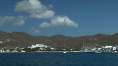 Approaching on the ship to a small coastal town. Stock Footage