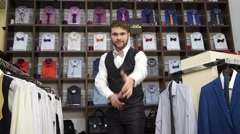 Fashion Man In Suit Posing In Wear Shop Stock Footage