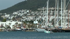 View of Bodrum and ships moored at the berth. - stock footage