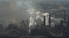 Nature Pollution Factory Emissions Into the Air. Metallurgical Plant on the Stock Footage