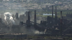 Nature Pollution Factory Emissions Into the Air. Taymlaps. Metallurgical Plant Stock Footage