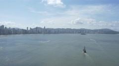Aerial Image of Balneário Camboriú BC Beach Pirate Boat 001 Stock Footage