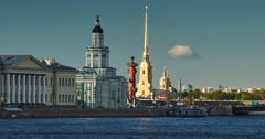 Russia, Saint-Petersburg, Peter and Paul Fortress, Rostral column Stock Footage