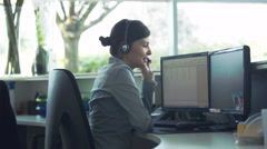 Officer worker providing customer service Stock Footage