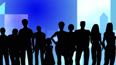 Ten people posing in silhouette against an animated background of buildings - stock footage