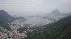 Aerial 180 SugarLoaf Mountain and city overview Rio de Janeiro Stock Footage