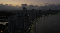 Aerial Image of Balneário Camboriú BC Beach Sunset 006 Stock Footage