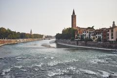 Adige River and cityscape, Verona, Italy - stock photo