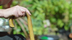 4K Close up on hands of elderly man with walking stick sitting in the garden Stock Footage