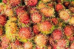 Close-up detail of lychee fruit on the market Stock Photos