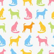Animal seamless pattern of cat and dog silhouettes - stock illustration