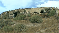 Ancient cave settlement. Stock Footage