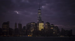 Night to day tiime lapse of Downtown Manhattan riverfront, New York City Stock Footage