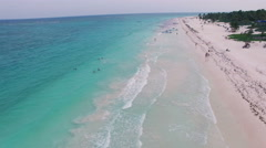 4K Aerial drone shot mexico along tulum beach - stock footage