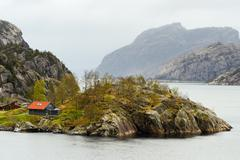 Solitary house, Lysefjord, Rogaland County, Norway - stock photo