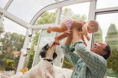 Grandfather holding up baby granddaughter in conservatory Stock Photos