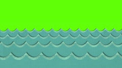 Theatrical Windy Paper Sea Waves Moving on a Green Screen Background Stock Footage