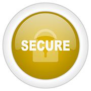 Secure icon, golden round glossy button, web and mobile app design illustrati Stock Illustration